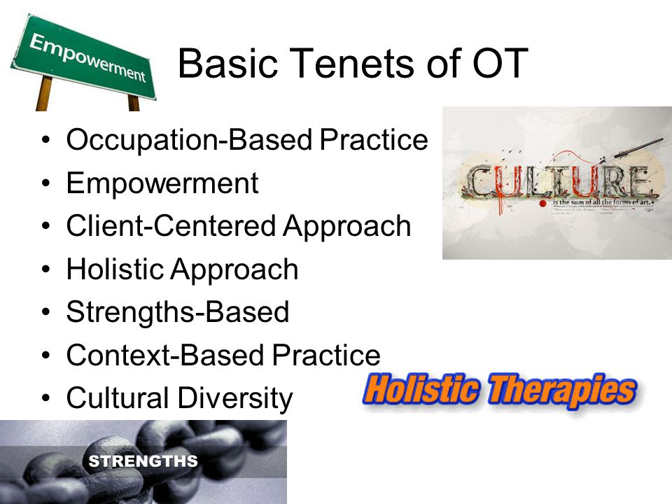 Basic Tenets of OT Occupation-Based Practice Empowerment Client-Centered Approach Holistic Approach Strengths-Based Context-Based Practice Cultural Diversity