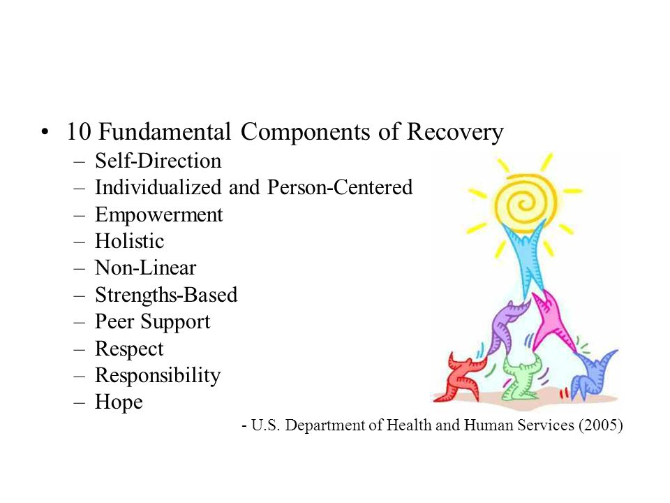 10 Fundamental Components of Recovery –Self-Direction –Individualized and Person-Centered –Empowerment –Holistic –Non-Linear –Strengths-Based –Peer Support –Respect –Responsibility –Hope - U.S.
