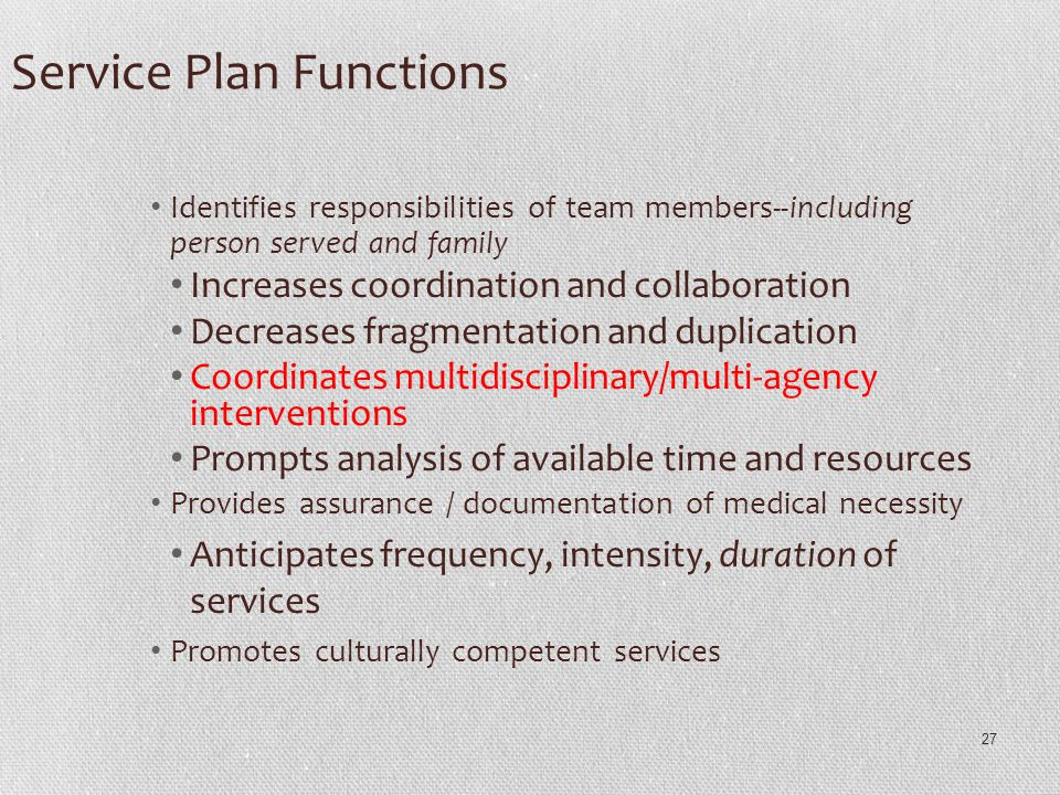 27 Service Plan Functions Identifies responsibilities of team members--including person served and family Increases coordination and collaboration Dec
