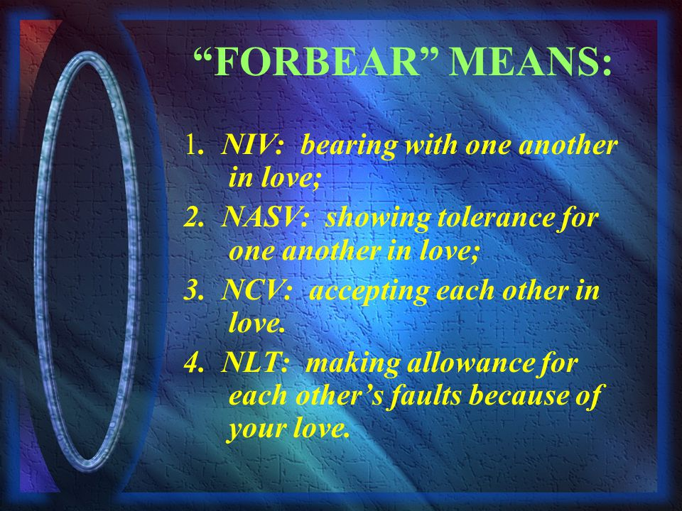 FORBEAR MEANS: 1. NIV: bearing with one another in love; 2.
