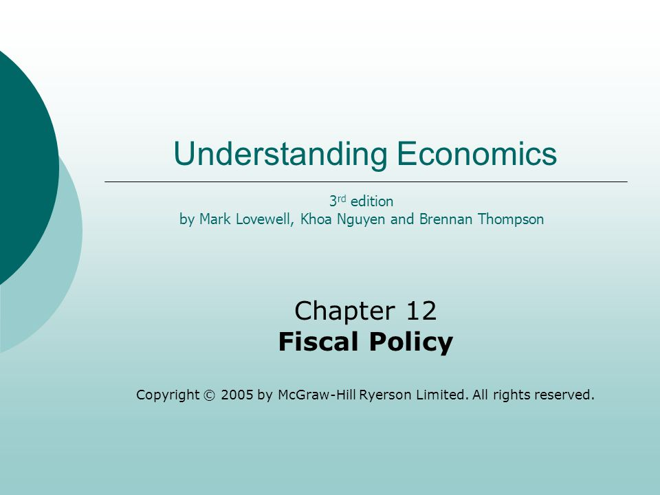 Understanding Economics Chapter 12 Fiscal Policy Copyright © 2005 by McGraw-Hill Ryerson Limited.