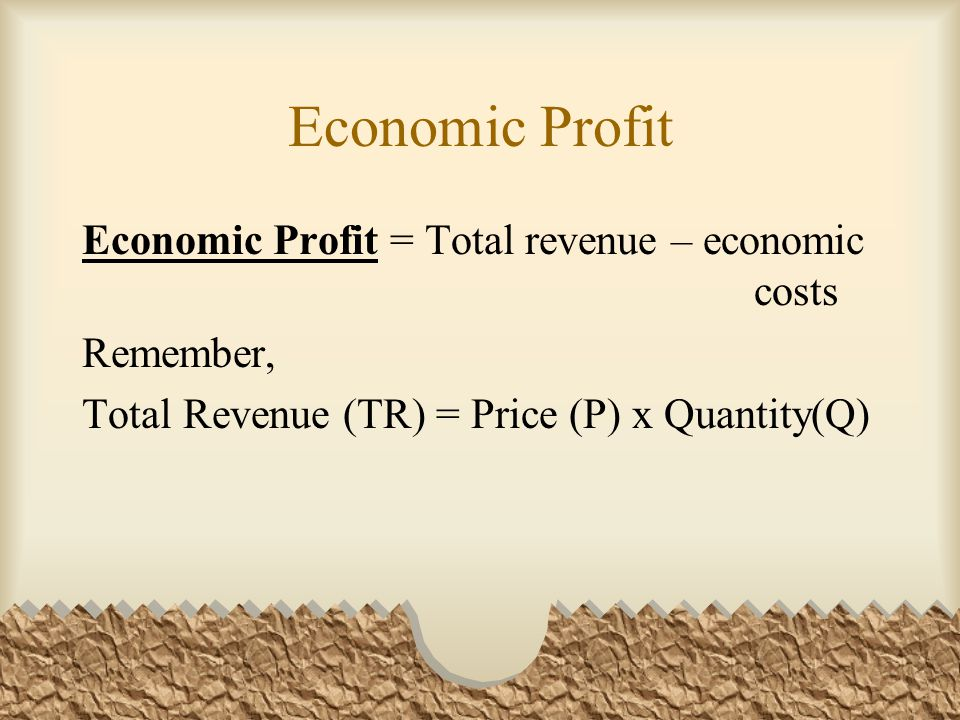 Economic Profit Economic Profit = Total revenue – economic costs Remember, Total Revenue (TR) = Price (P) x Quantity(Q)