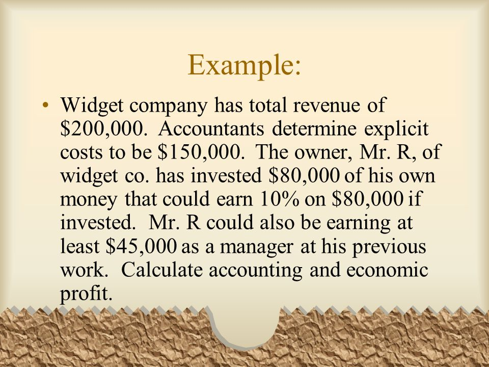 Example: Widget company has total revenue of $200,000.