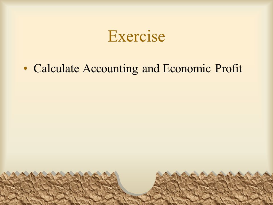 Exercise Calculate Accounting and Economic Profit