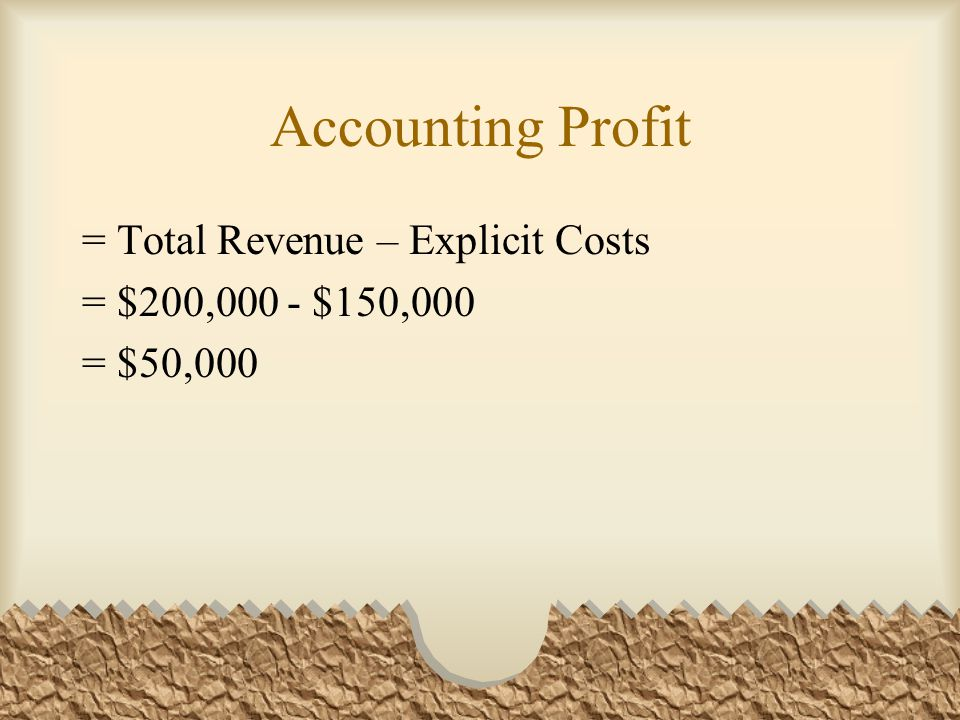 Accounting Profit = Total Revenue – Explicit Costs = $200,000 - $150,000 = $50,000