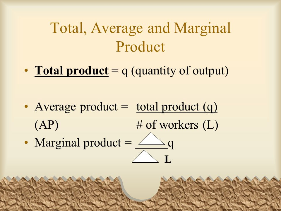 Total, Average and Marginal Product Total product = q (quantity of output) Average product = total product (q) (AP)# of workers (L) Marginal product =