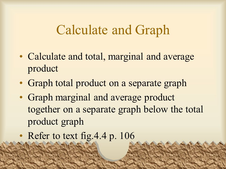 Calculate and Graph Calculate and total, marginal and average product Graph total product on a separate graph Graph marginal and average product together on a separate graph below the total product graph Refer to text fig.4.4 p.