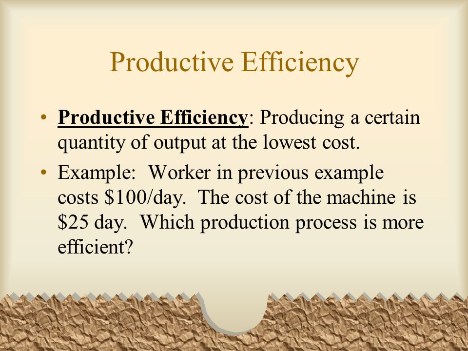 Productive Efficiency Productive Efficiency: Producing a certain quantity of output at the lowest cost.