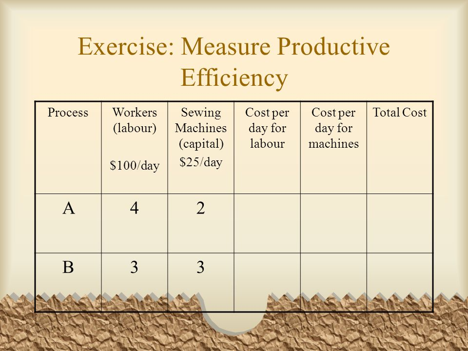 Answer: Measuring Productive Efficiency ProcessWorkers (labour) $100/day Sewing Machines (capital) $25/day Cost per day for labour Cost per day for machines Total Cost A42$400$50$450 B33$300$75$375