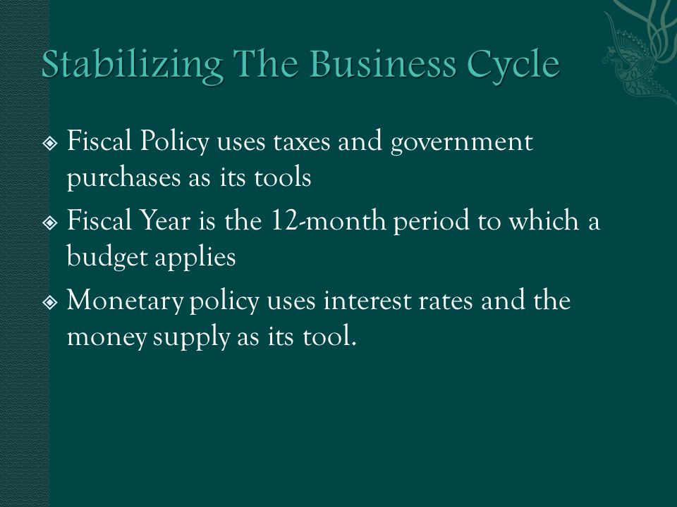  Expansionary fiscal policy involves increasing government purchases, decreasing taxes, or both to stimulate spending and output.