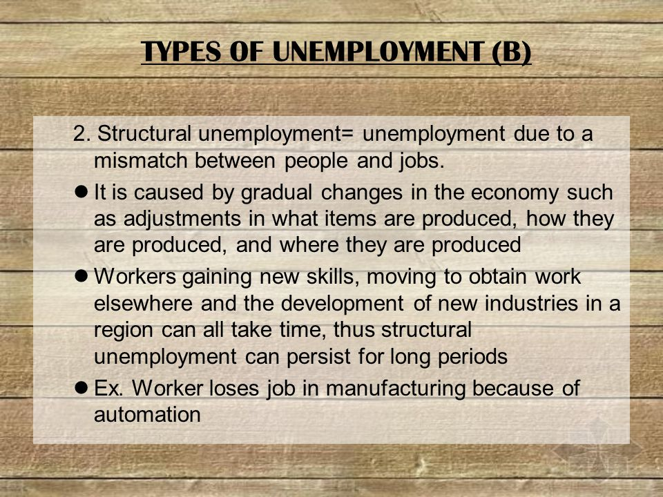 2. Structural unemployment= unemployment due to a mismatch between people and jobs.