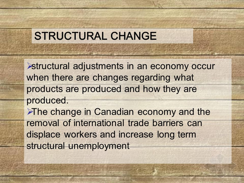  structural adjustments in an economy occur when there are changes regarding what products are produced and how they are produced.