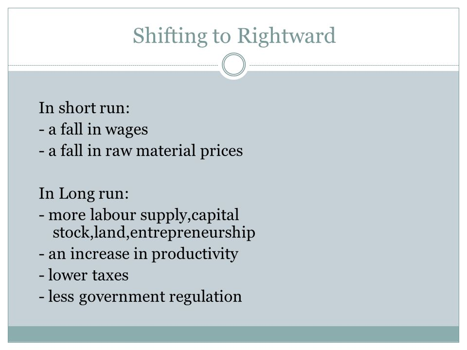 Shifting to Rightward In short run: - a fall in wages - a fall in raw material prices In Long run: - more labour supply,capital stock,land,entrepreneurship - an increase in productivity - lower taxes - less government regulation