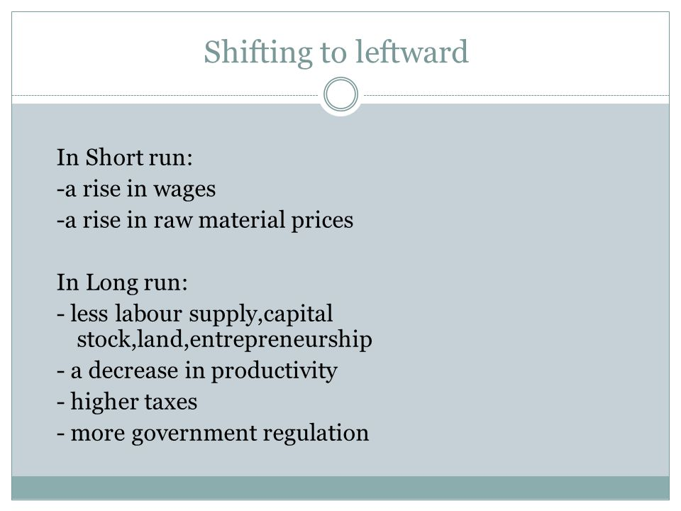 Shifting to leftward In Short run: -a rise in wages -a rise in raw material prices In Long run: - less labour supply,capital stock,land,entrepreneurship - a decrease in productivity - higher taxes - more government regulation