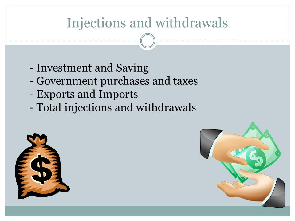 Injections and withdrawals - Investment and Saving - Government purchases and taxes - Exports and Imports - Total injections and withdrawals