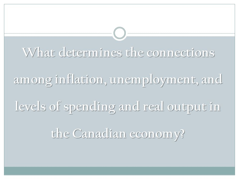 What determines the connections among inflation, unemployment, and levels of spending and real output in the Canadian economy