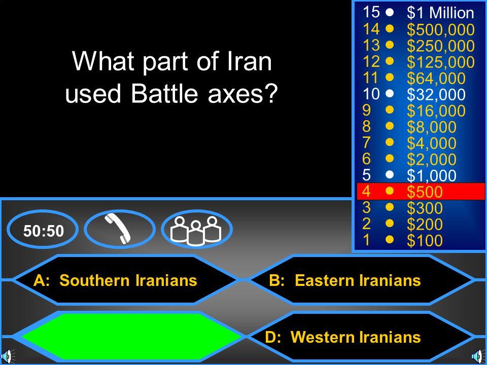 A: Southern Iranians C: Northern Iranians B: Eastern Iranians D: Western Iranians 50:50 15 14 13 12 11 10 9 8 7 6 5 4 3 2 1 $1 Million $500,000 $250,000 $125,000 $64,000 $32,000 $16,000 $8,000 $4,000 $2,000 $1,000 $500 $300 $200 $100 What part of Iran used Battle axes?