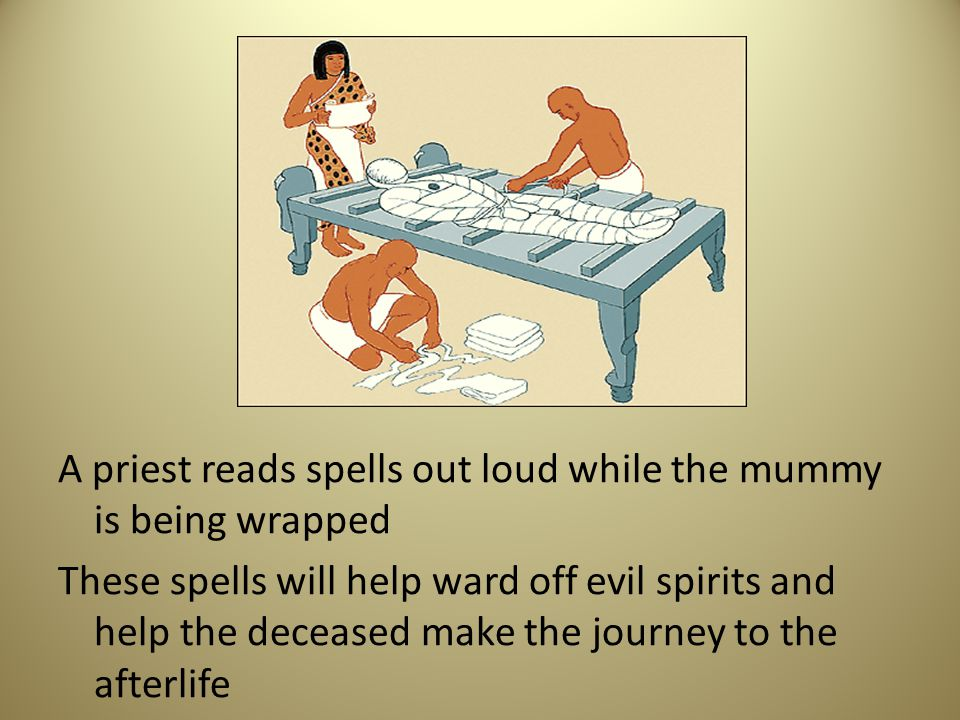A priest reads spells out loud while the mummy is being wrapped These spells will help ward off evil spirits and help the deceased make the journey to