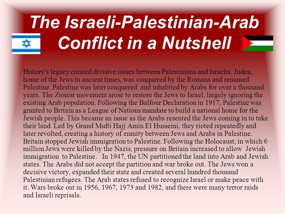 The Israeli-Palestinian-Arab Conflict in a Nutshell History's legacy created divisive issues between Palestinians and Israelis. Judea, home of the Jew
