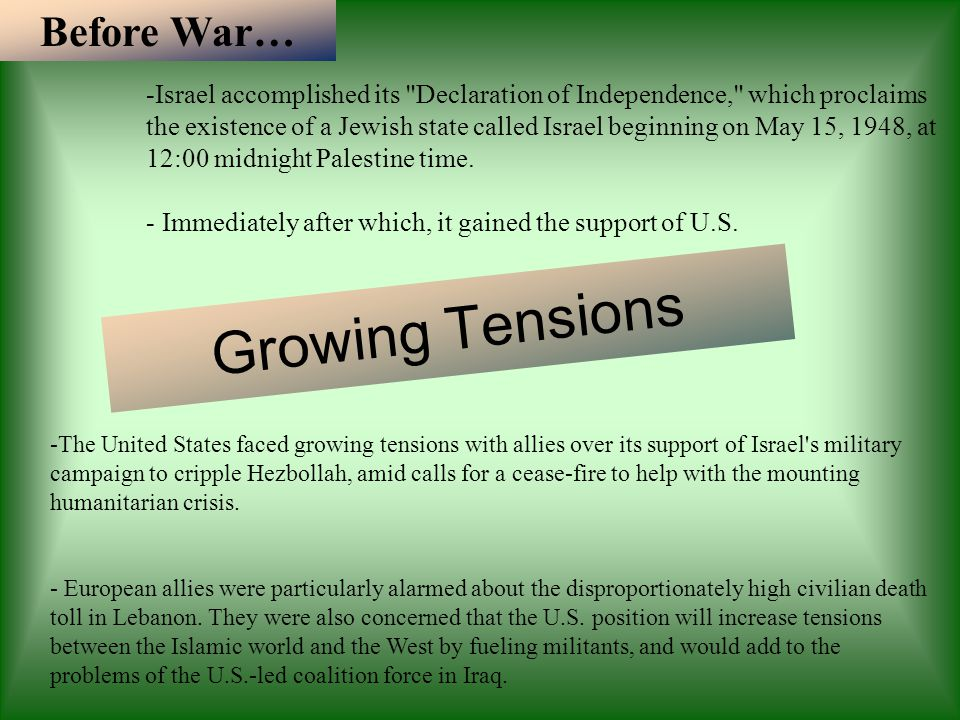Growing Tensions Before War… -Israel accomplished its