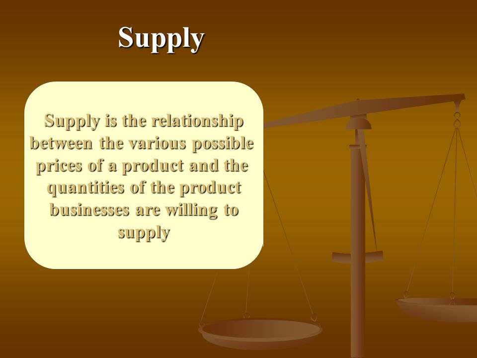 Supply Supply is the relationship between the various possible prices of a product and the quantities of the product businesses are willing to supply