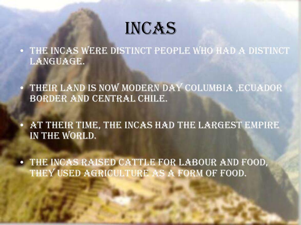 Incas The Incas were distinct people who had a distinct language.