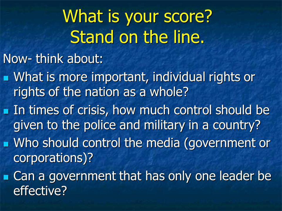 What is your score.Stand on the line.