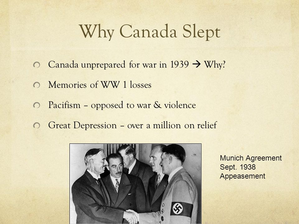 Why Canada Slept Canada unprepared for war in 1939  Why.