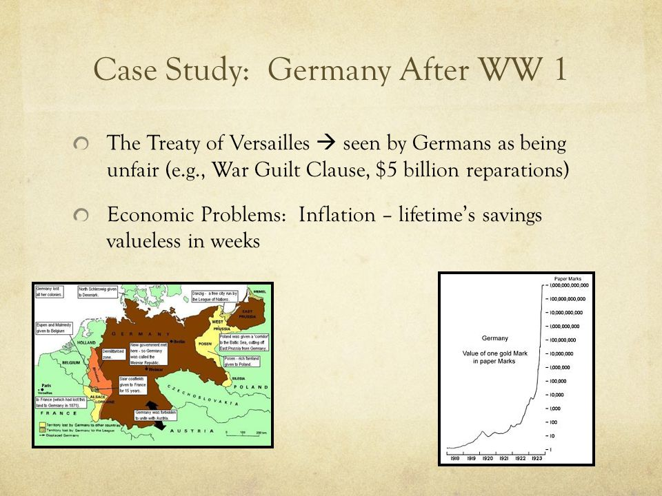 Case Study: Germany After WW 1 Depression & Unemployment – 6 million unemployed Political Instability – Communists, Social Democrats, Nazis bitterly opposed Communists & Nazis had street battles No party could win a majority