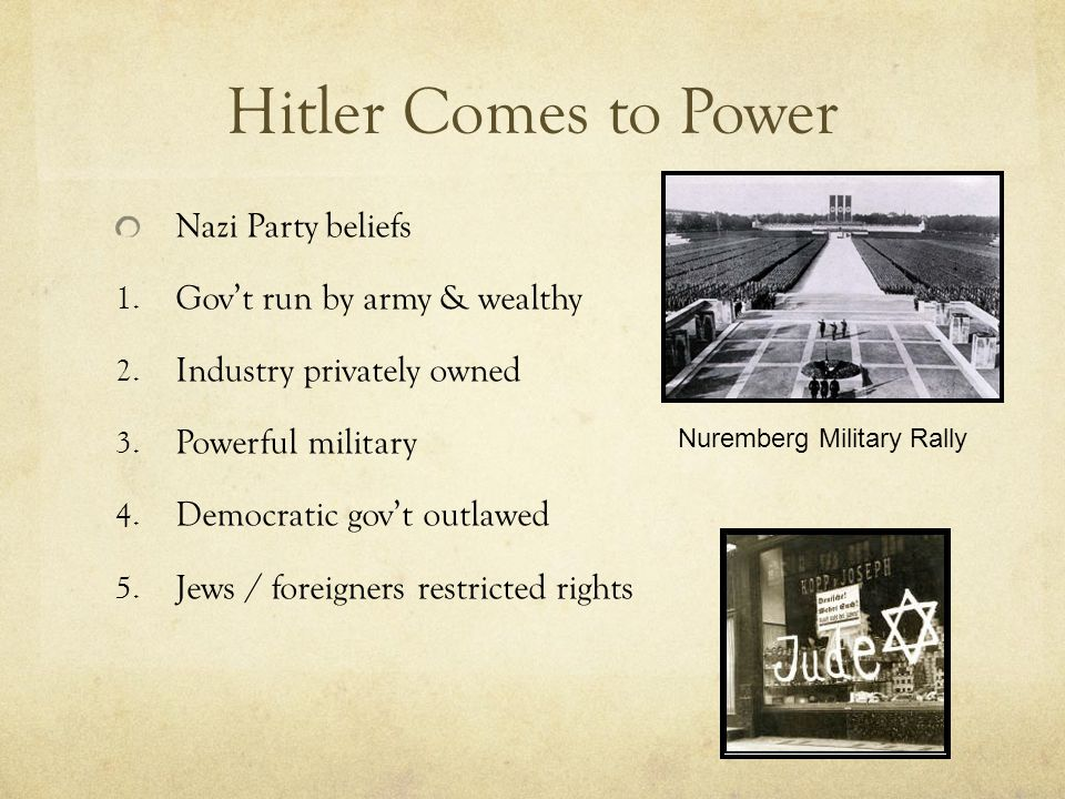 Hitler Comes to Power Promised to bring back Germany lost in WW 1 Germans were a master race of people that deserved to rule the world Jews were a deadly poison & vermin wrote Hitler in his book Mein Kampf 1933 Hitler gains control of German Parliament