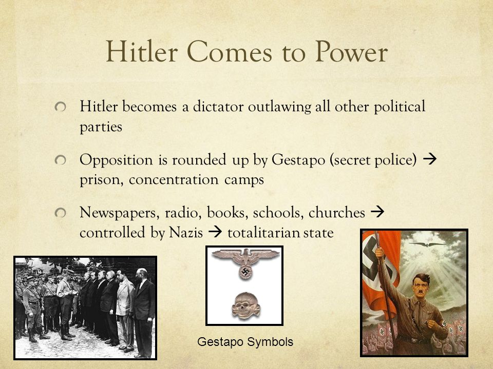Hitler's Anti-Semitism Jew banned from all gov't jobs, teaching, banking, broadcasting, newspapers, entertainment, many shops, public buildings 1935 – Nuremberg Laws  German Jews lost citizenship & civil rights  marriages illegal between Jews & non-Jews Illegal Marriage Jews forbidden at athletic club