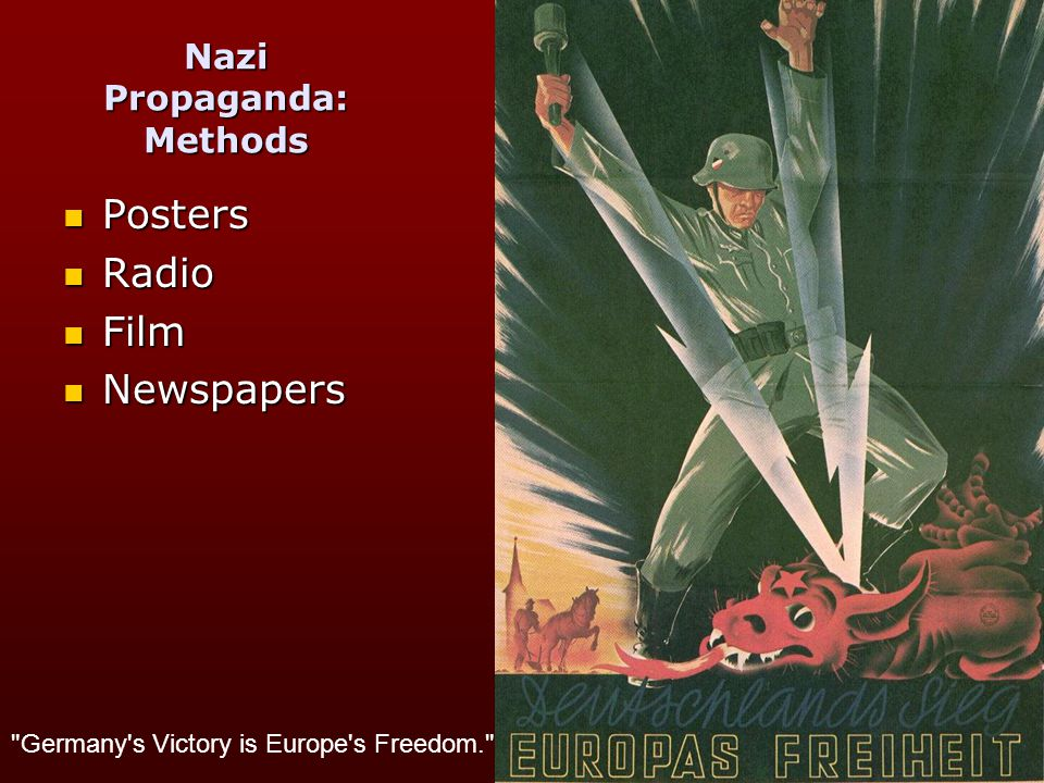 Nazi Propaganda The Nazi's quickly recognised the value of the media.