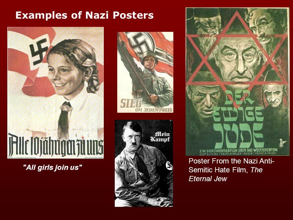 Posters Posters are cheap and easy to distribute Placed in prominent positions they act as a constant reminder of ideology Can be used for many purposes Youth serves the Fuhrer.