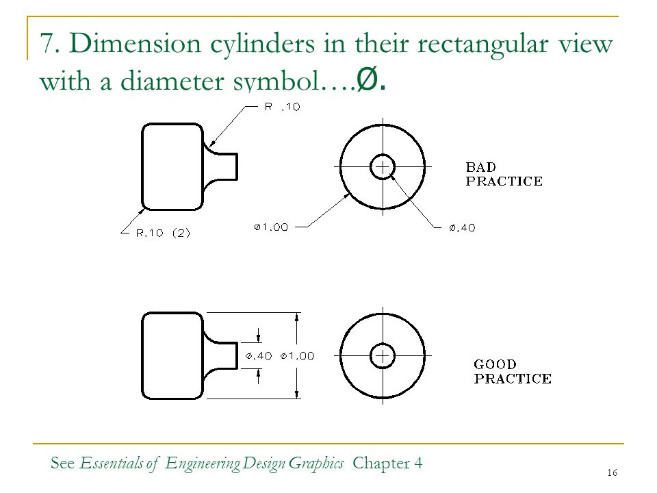 16 7. Dimension cylinders in their rectangular view with a diameter symbol…. Ø. See Essentials of Engineering Design Graphics Chapter 4