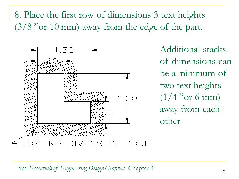 "17 8. Place the first row of dimensions 3 text heights (3/8 ""or 10 mm) away from the edge of the part. Additional stacks of dimensions can be a minimu"