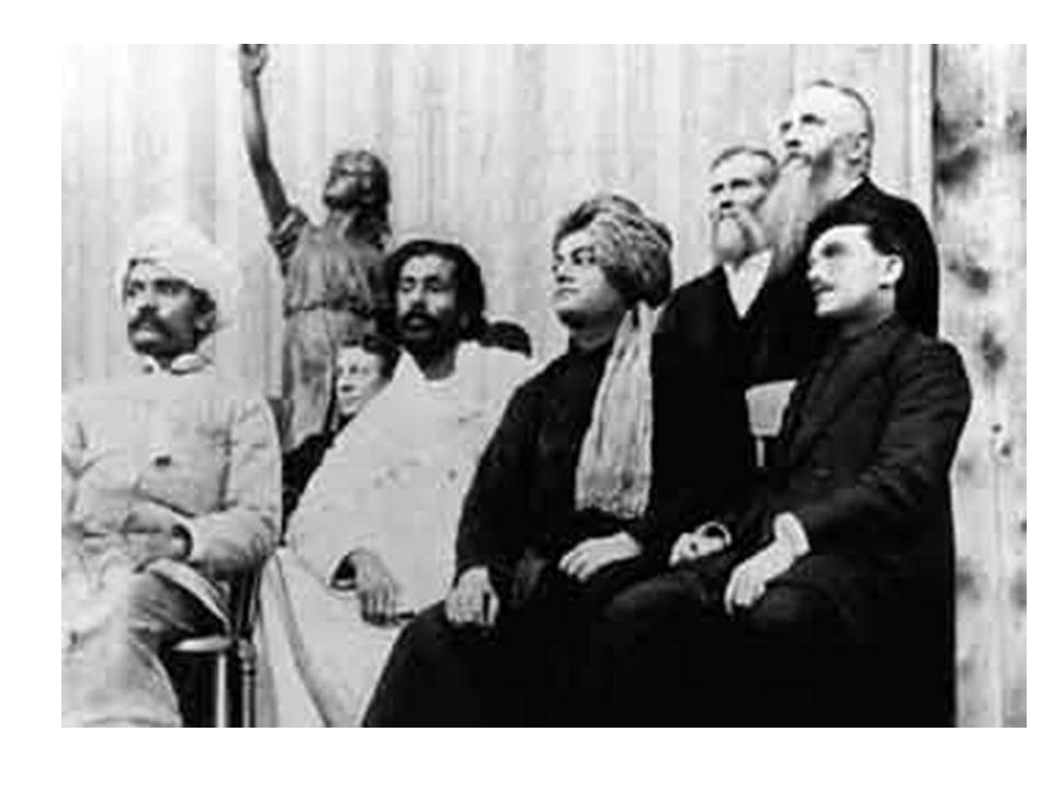 Swami Vivekananda on the platform of the Parliament of Religions September 1893.