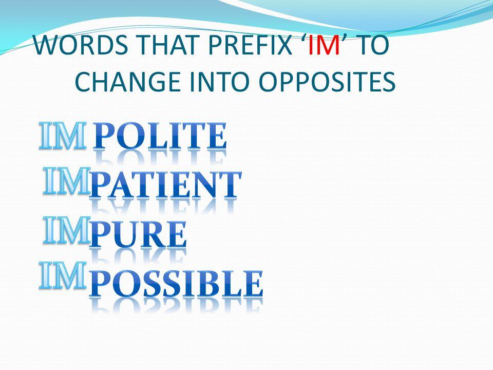 MORE WORDS PREFIXING 'IM'