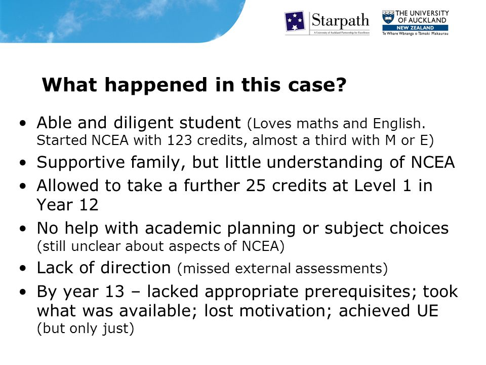 What happened in this case. Able and diligent student (Loves maths and English.