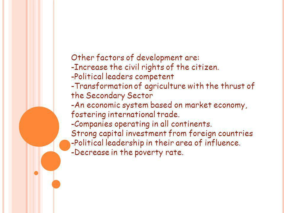 Other factors of development are: -Increase the civil rights of the citizen.