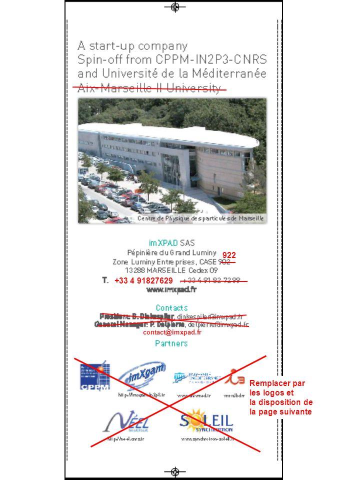 +33 4 91827629 922 Remplacer par les logos et la disposition de la page suivante contact@imxpad.fr