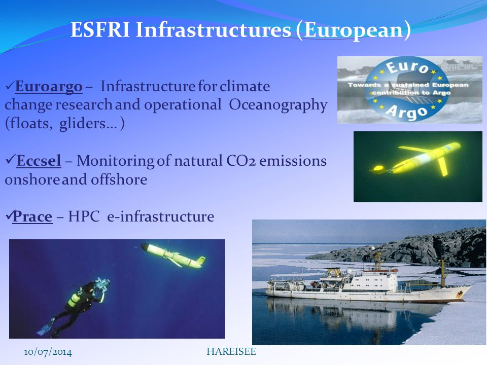 Euroargo – Infrastructure for climate change research and operational Oceanography (floats, gliders… ) Eccsel – Monitoring of natural CO2 emissions onshore and offshore Prace – HPC e-infrastructure ESFRI Infrastructures (European) 10/07/2014HAREISEE