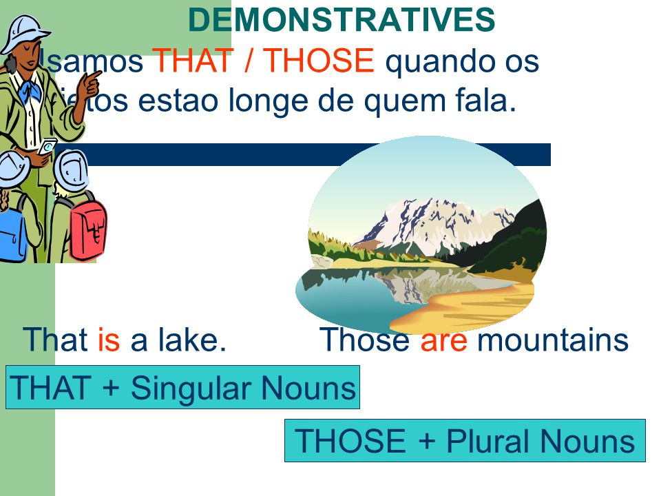 DEMONSTRATIVES Usamos THAT / THOSE quando os objetos estao longe de quem fala.