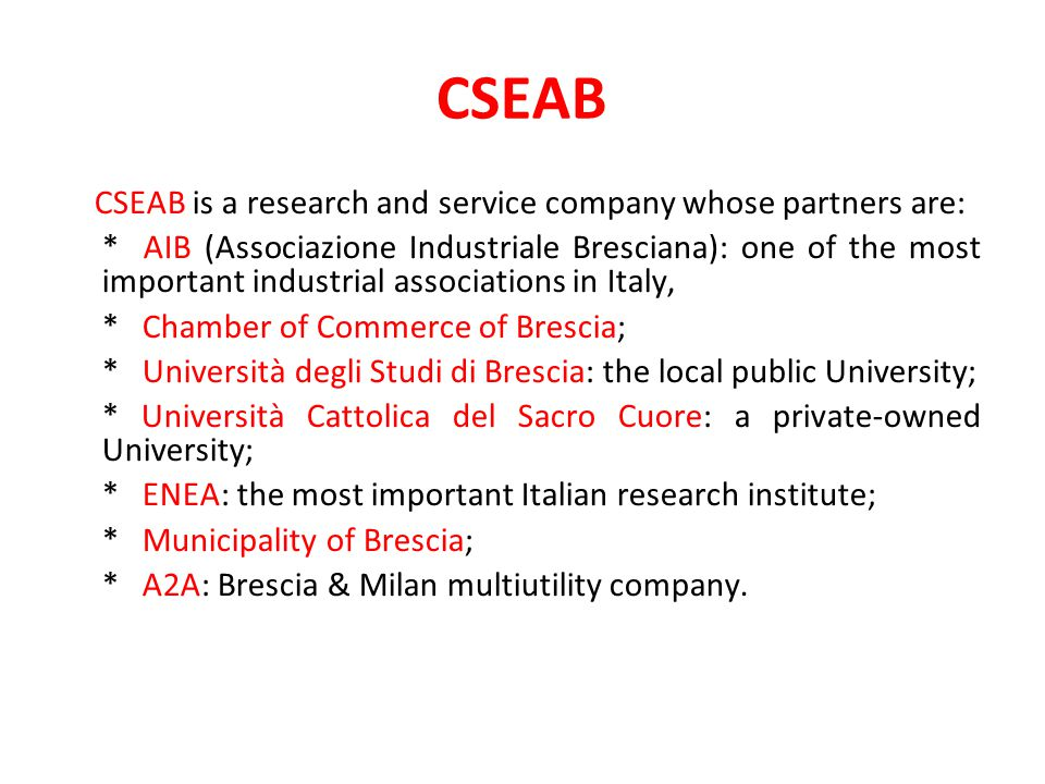 CSEAB CSEAB is a research and service company whose partners are: * AIB (Associazione Industriale Bresciana): one of the most important industrial associations in Italy, * Chamber of Commerce of Brescia; * Università degli Studi di Brescia: the local public University; * Università Cattolica del Sacro Cuore: a private-owned University; * ENEA: the most important Italian research institute; * Municipality of Brescia; * A2A: Brescia & Milan multiutility company.