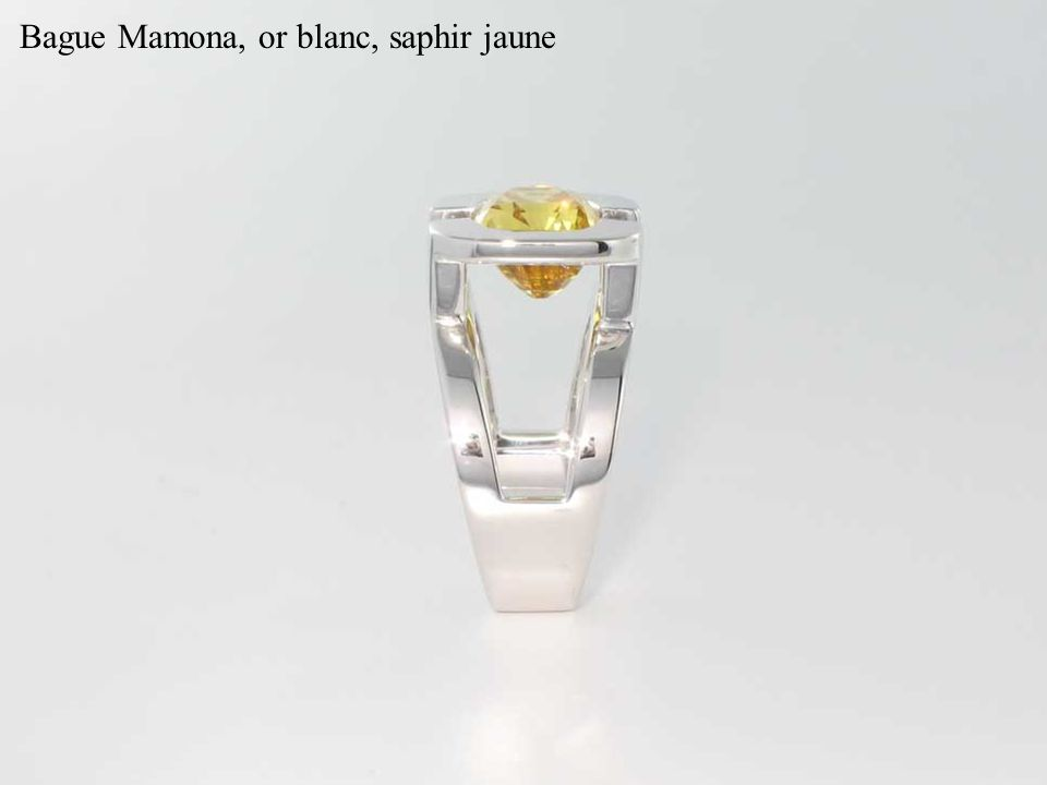 Bague Mamona, or blanc, saphir jaune