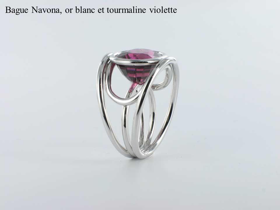 Bague Navona, or blanc et tourmaline violette