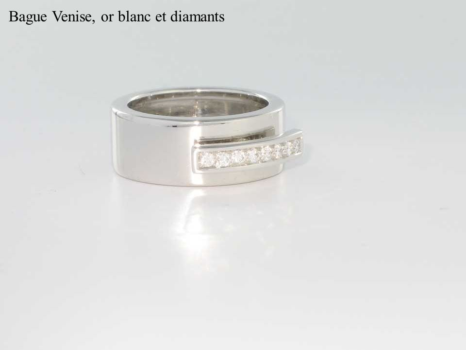 Bague Venise, or blanc et diamants