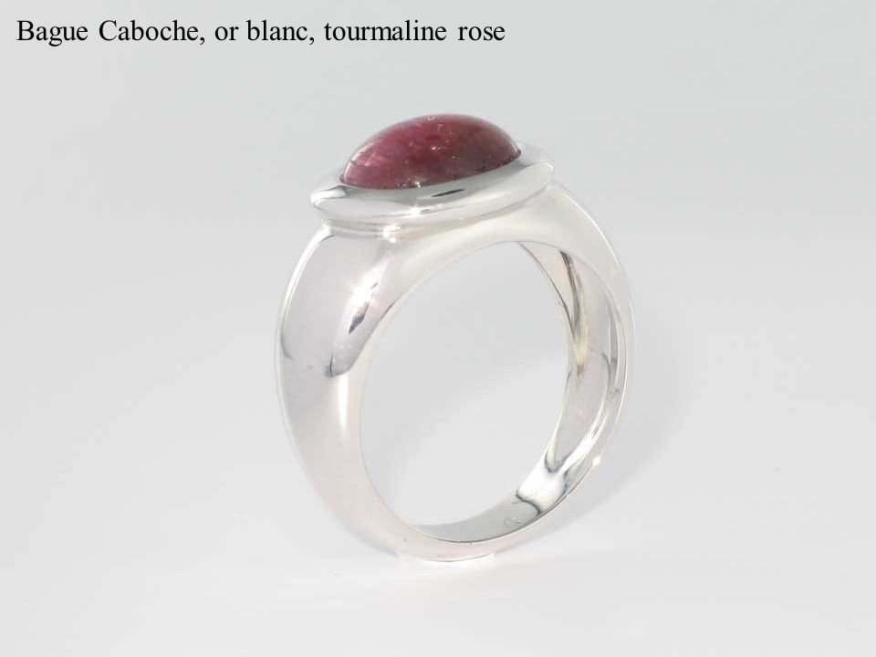 Bague Caboche, or blanc, tourmaline rose