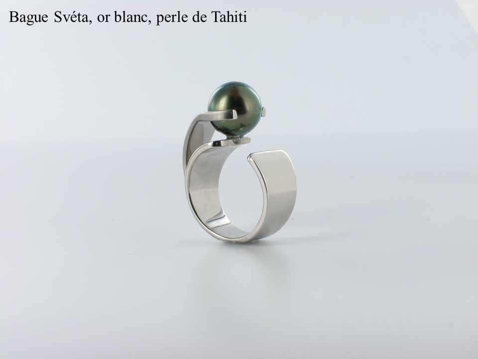Bague Svéta, or blanc, perle de Tahiti