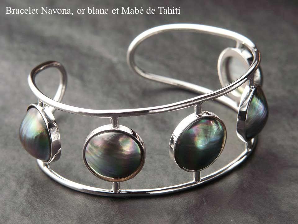Bracelet Navona, or blanc et Mabé de Tahiti