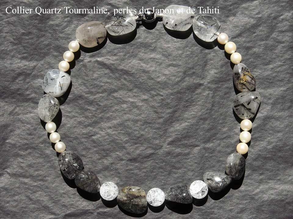 Collier Quartz Tourmaline, perles du Japon et de Tahiti